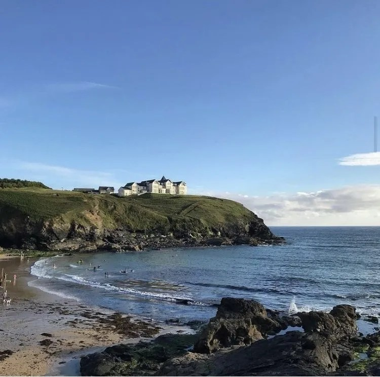 Poldhu Cove and a house on the cliff