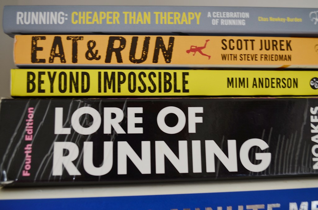 A pile of running books