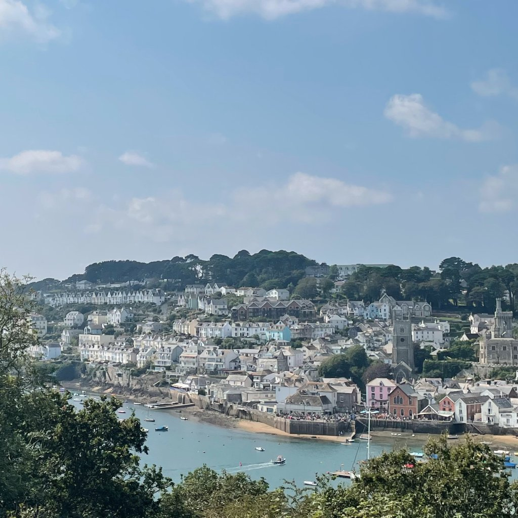 Cornish town Fowey in the sunshine and across the waterfrom Bodinnick