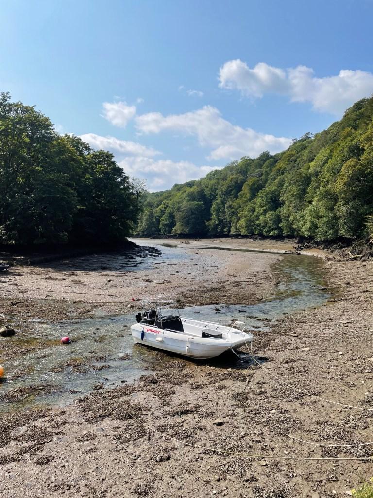 a single rib boat on the muddy bank at Pont Pill Cornwall