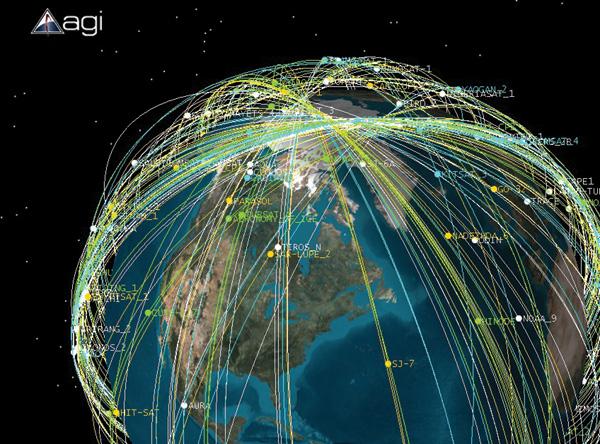 Tracce satellite sopra il Polo Nord