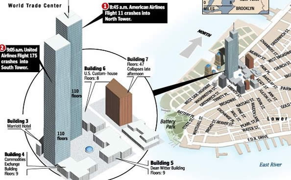 Map Where Twin Towers Happened
