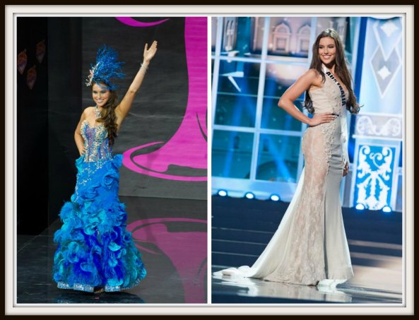 Olivia Wells in National Costume and Evening gown round of Miss Universe 2013