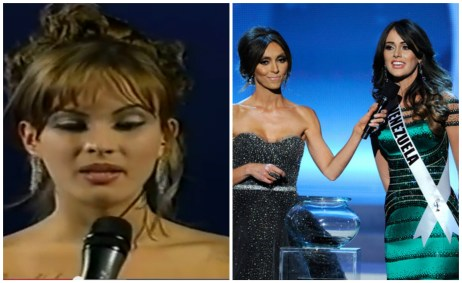 Claudia Moreno and Irene Esser answering final Question at Miss Universe 2000 and 2012