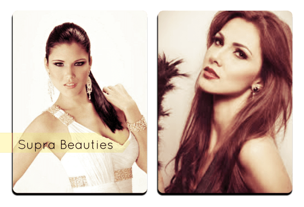 (left to Right) Gabriela Berrios Miss Puerto Rico Universe 2014, Karina Ramos Miss Universe Costa Rica 2014.