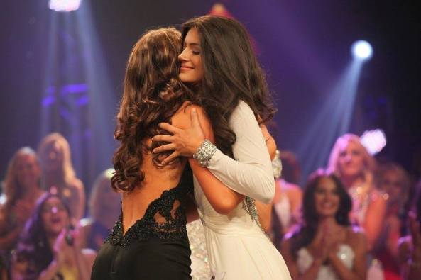 Lacey Morgan, left, and Ashleigh Lollie hugged before the third runner up was announced at finals Lacey won the Third Runner Up crown.