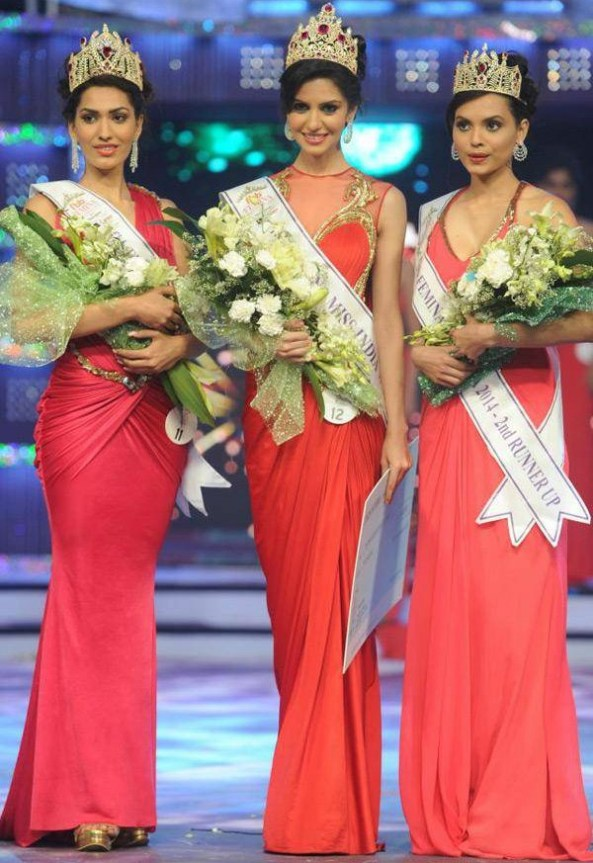 Femina Miss India 2014 winners~ left to right Jhatleka Malhotra Miss India International 2014,Koyal rana Miss India World 2014 & Gail Nicole D silva Miss India United Continents 2014