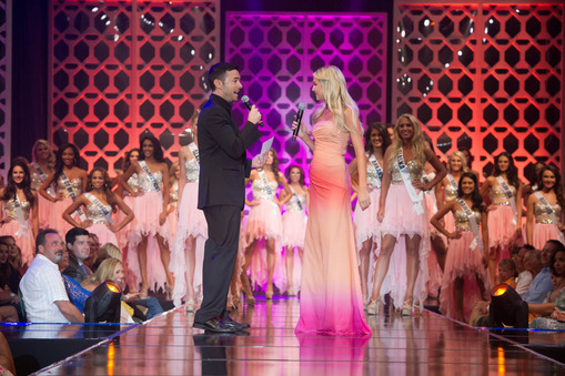 Miss Teen USA 2014 contestants on stage with Miss Teen USA 2013 Cassidy Wolf.