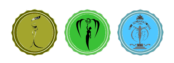 Logos of Miss Grand International, Miss Earth and Miss Supranational