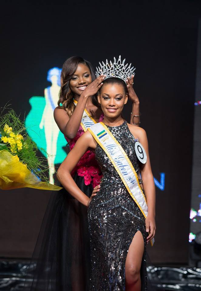 Miss Gabon 2015 winner, Reine Ngotala being crowned by Miss Gabon 2014  Maggaly Nguema