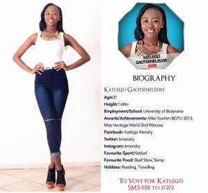 028 Katlego Gaotsenelelwe Miss Botswana 2015 Contestants