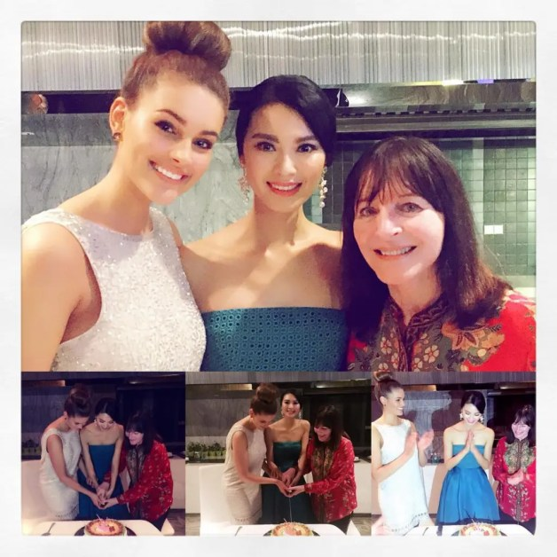 Rolene Strauss in China withhBirthday Girl Yu WenXia & Julia Morley