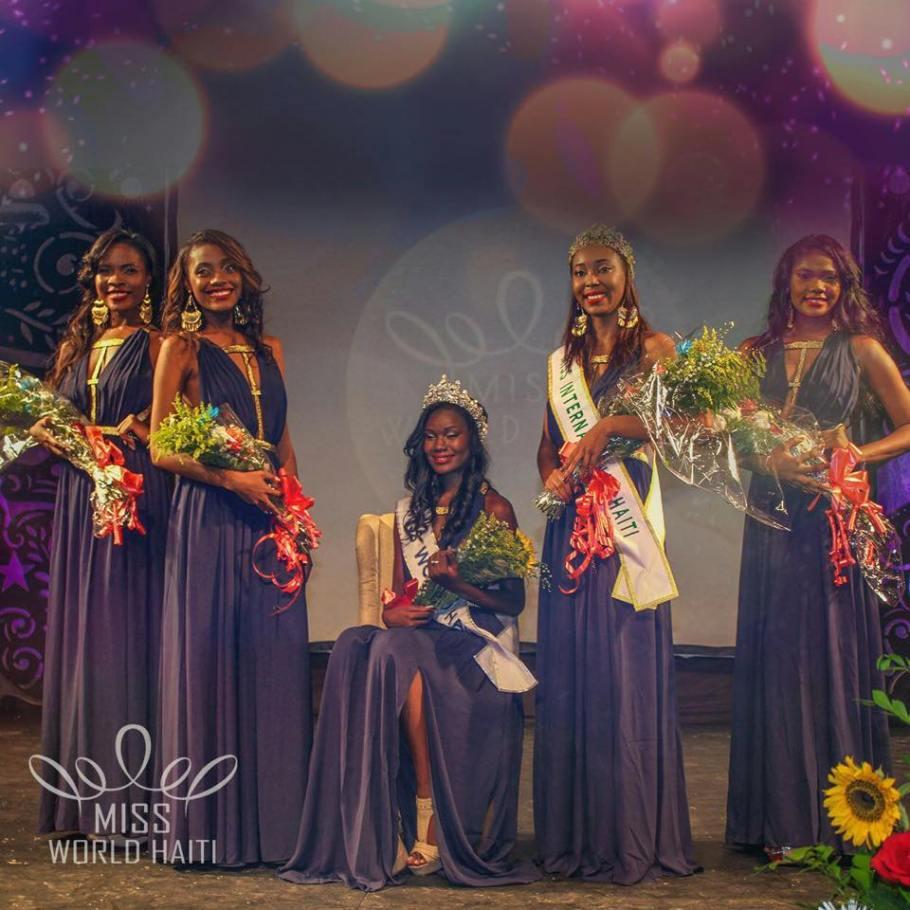 Miss World Haiti 2015 -Seydina Allen(Sitting) along side Miss International Haiti 2015-Marie Viannye Menard (Third from right) along with runner ups