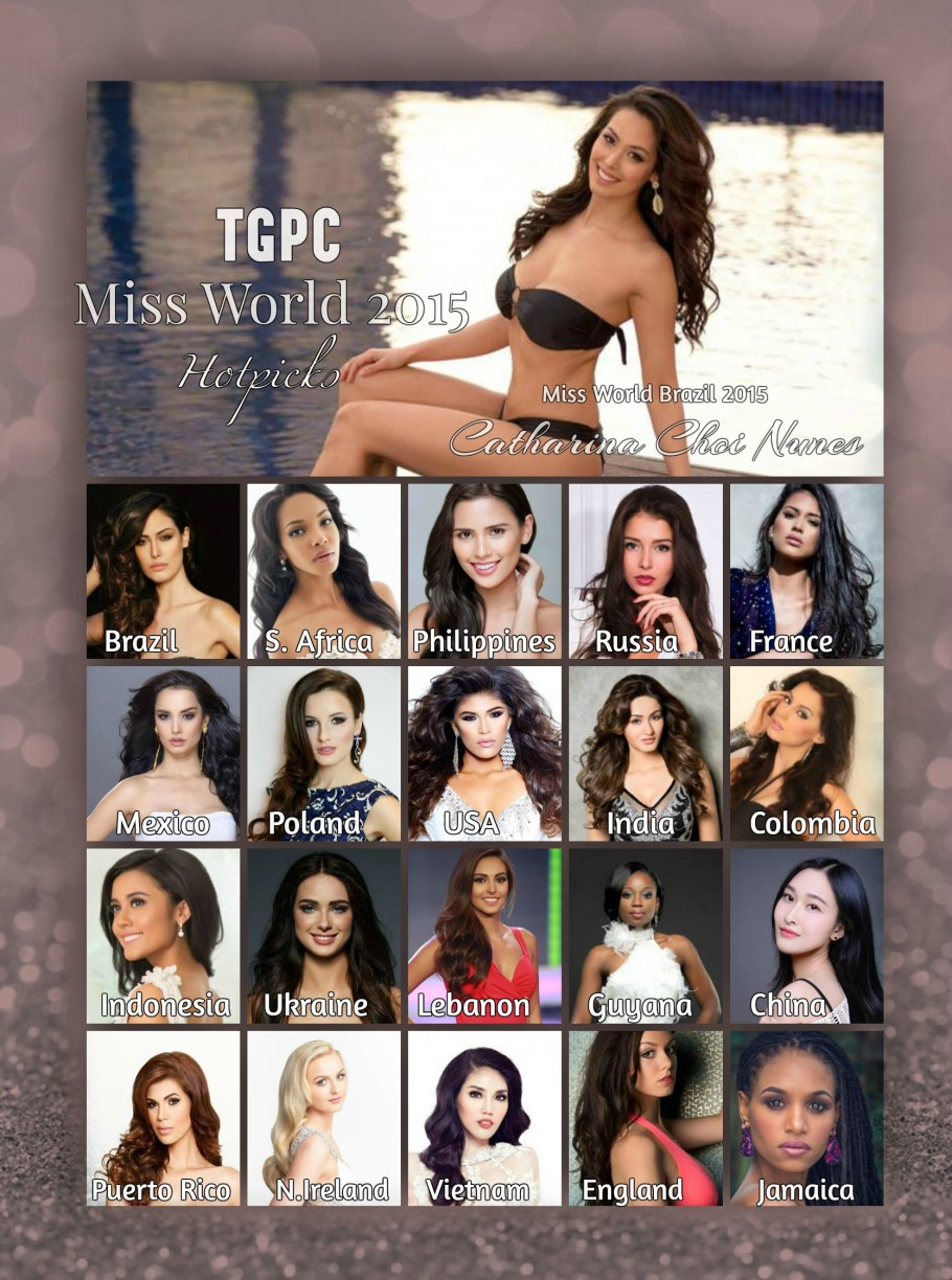 Miss World 2015 pre arrival favorites