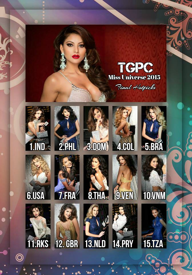 Miss Universe 2015 Hotpicks [Final & Exclusive] – The Great
