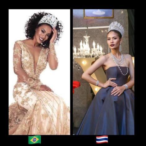 (L-R) Miss Brazil, Raissa Santana & Miss Thailand, Chalita Suansane