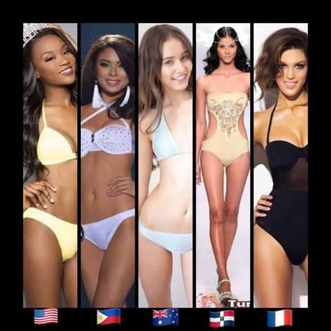 TOP 10: (L-R) Miss USA, Deshauna Barber,Miss Philippines, Maxine Medina,Miss Australia, Caris Tiivel,Miss Dominican Republic, Sal Garcia and Miss France, Iris Mittenaere