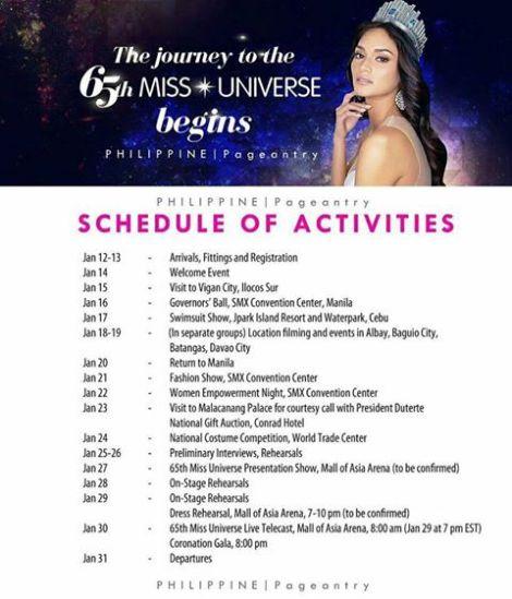 Miss Universe 2016 Schedule