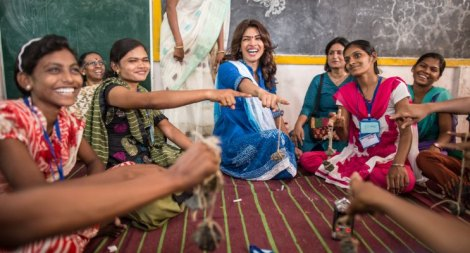 Priyanka Chopra during a visit in the Chandrapur district as part of her work with UNICEF