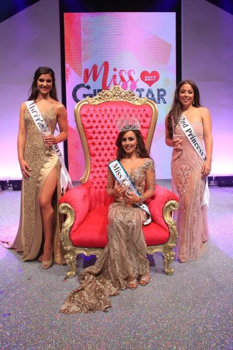 Miss Gibraltar 2017 winners: Tessa Britto, Jodie Garcia & Sian Dean