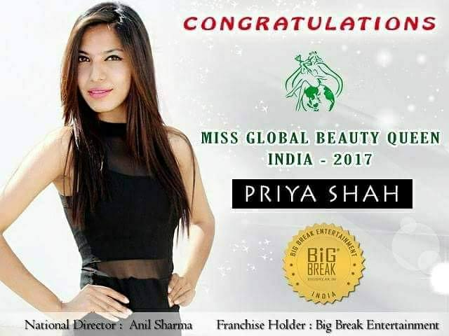 Priya Shah will represent India at Miss Global Beauty Queen 2017