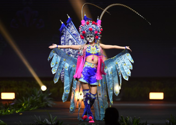 Miss Universe China,Meisu Qin during the national costume presentation