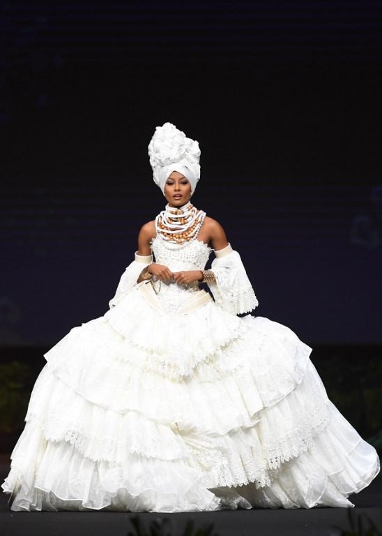 Miss Universe Curaçao,Akisha Albert during the national costume presentation