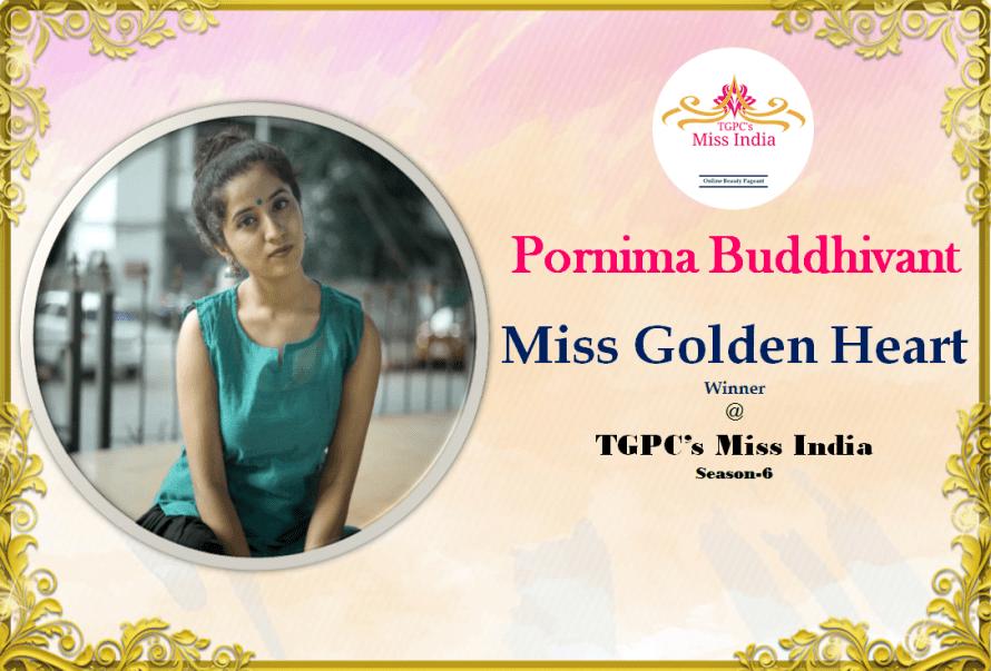Pornima Butthivant Miss Golden Heart Winner