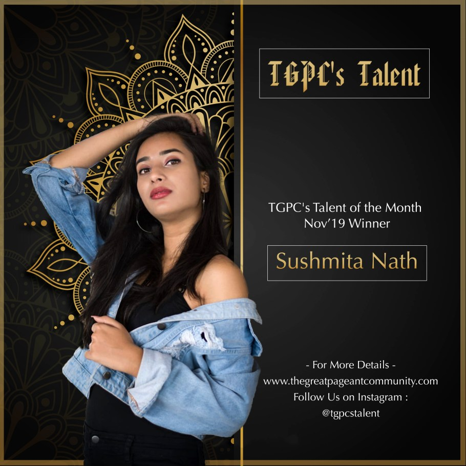 Sushmita Nath from Pune wins TGPC's Talent of the Month November'19 Edition