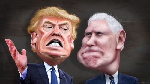 By DonkeyHotey (Donald Trump and Mike Pence - Caricature) [CC BY-SA 2.0 (http://creativecommons.org/licenses/by-sa/2.0)], via Wikimedia Commons