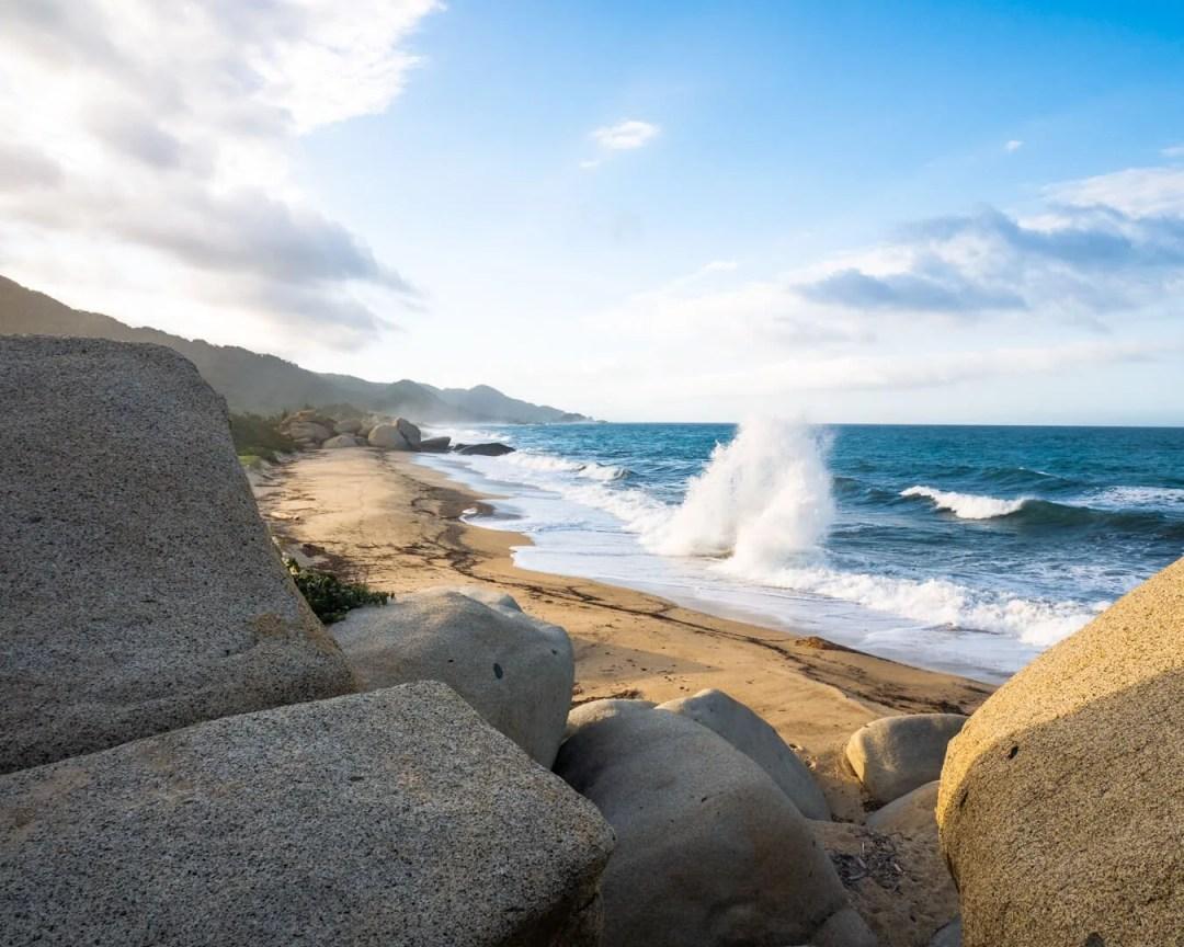 Waves crashing at Tayrona beach