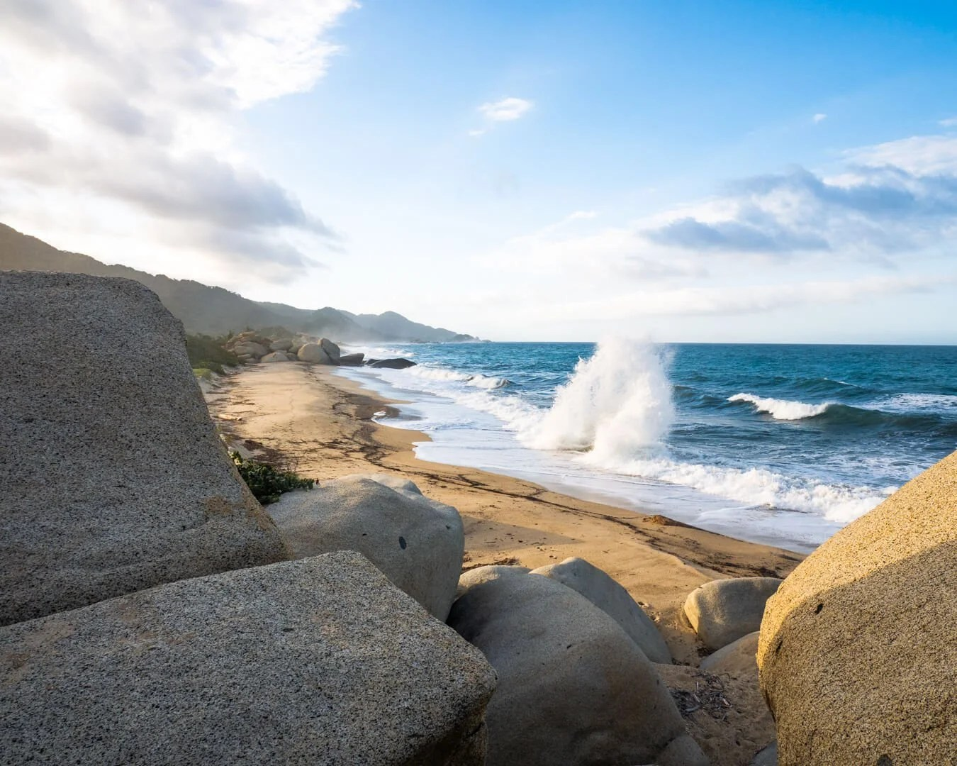 Waves crashing at Tayrona beach