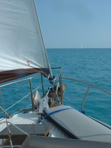 The bow of our boat on a gorgeous day on the Little Bahama Bank.