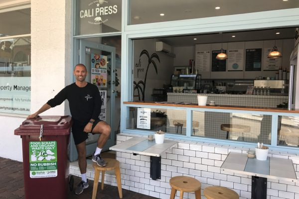 photo of a man with an ORG bin at Cali Press, Bronte