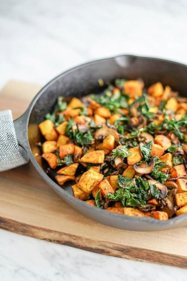 Vegan Potato, Mushroom and Kale Hash Skillet