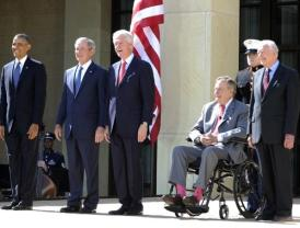 President Obama and former Presidents W. Bush, Clinton, H.W. Bush and Carter
