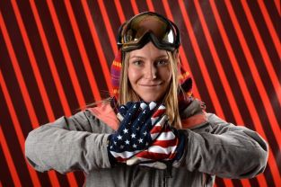America's Jaime Anderson's monster jump in the snowboard slopestyle qualifying run- she got a 93.50.