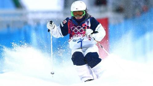 American Eliza Outtrim's great run in the moguls to qualify for moguls finals in the Olympics!
