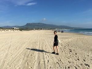Karen on Bolonia beach.