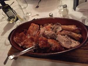 David's evening dish of Suckling Pig