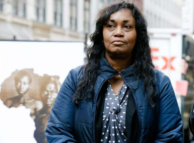 In this March 20, 2019 file photo Tamara Lanier attends a news conference near the Harvard Club, in New York. Lanier, of Norwich, Conn., is suing the Harvard University for
