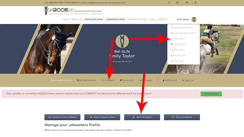 The Grooms List How-To Guide for Jobseekers - Add or Edit Job Alerts