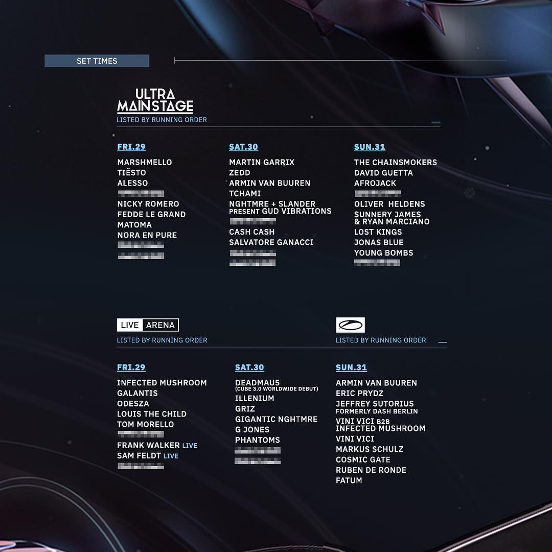Ultra 2019 mainstage timetable schedule lineup