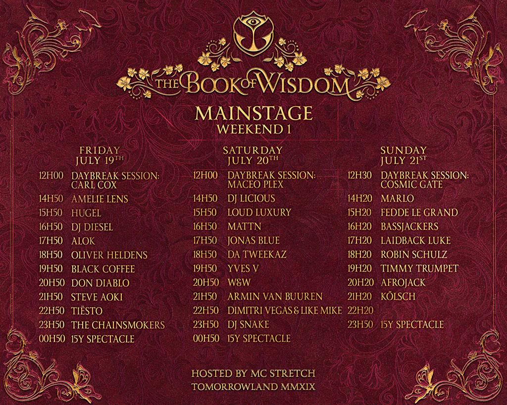 Tomorrowland Mianstage schedule weekend 1