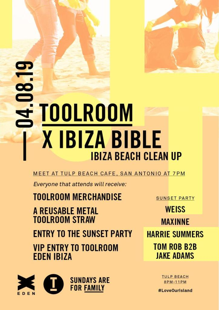 Toolroom Beach Cleanup Ibiza party