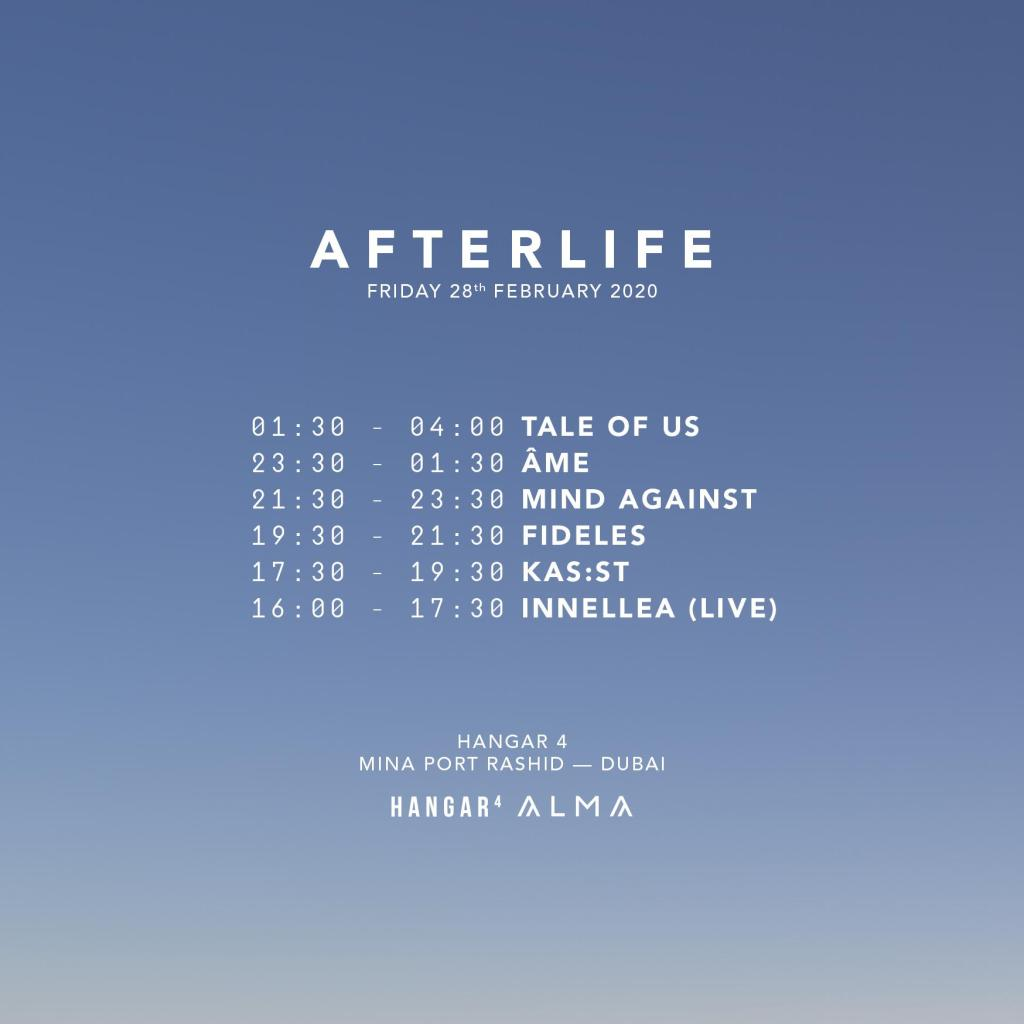 Afterlife Dubai 2020 timetable