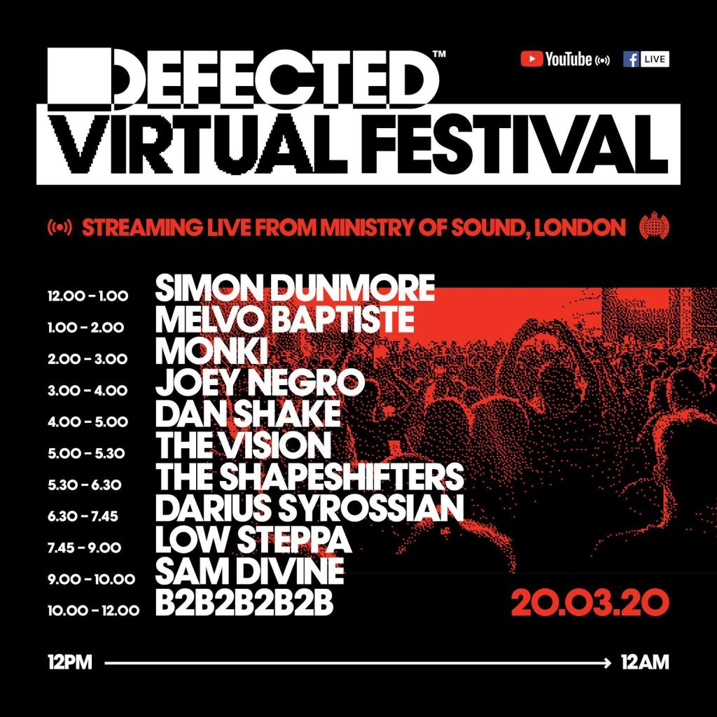 Defected Virtual Festival lineup schedule