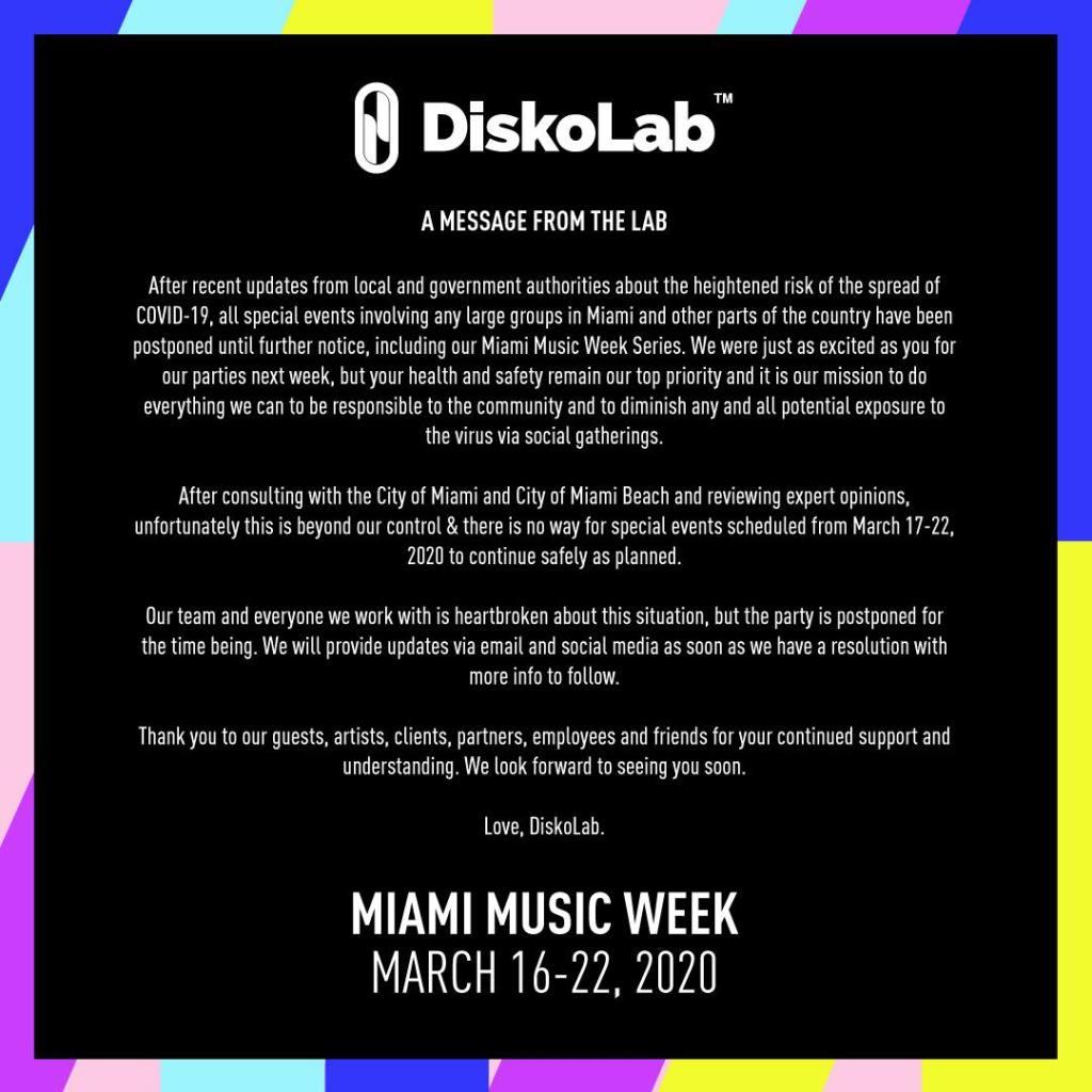 Diskolab Miami Music Week 2020 press release