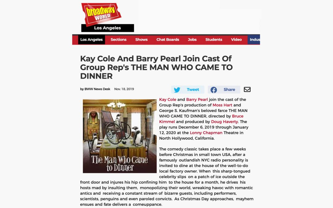 Kay Cole And Barry Pearl Join Cast Of Group Rep's THE MAN WHO CAME TO DINNER