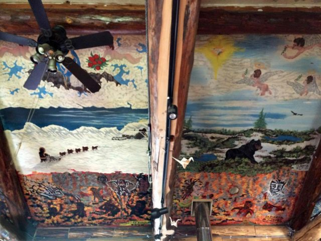 sistine chapel of Alaska on the ceiling of The Grove alaska permaculture farm that also functions now as a Talkeetna venue and provides Talkeetna lodging